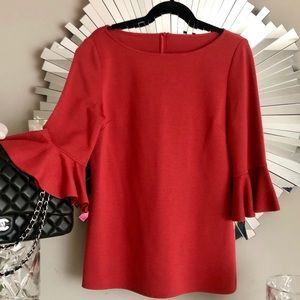 ST. JOHN THREE QUARTER RUFFLE SLEEVE TOP